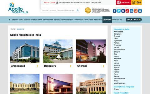 Screenshot of Locations Page apollohospitals.com - Apollo Hospitals Location & Contact Details - captured Dec. 25, 2015