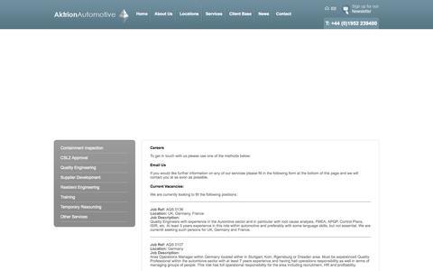 Screenshot of Jobs Page aktrionautomotive.com - Careers - captured Oct. 4, 2014