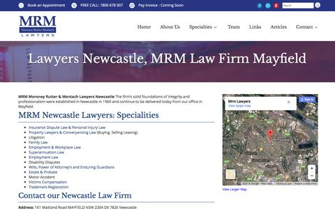 Screenshot of Contact Page mrmlawyers.com.au - Newcastle Lawyers, MRM Law Firm Mayfield - captured Nov. 18, 2016