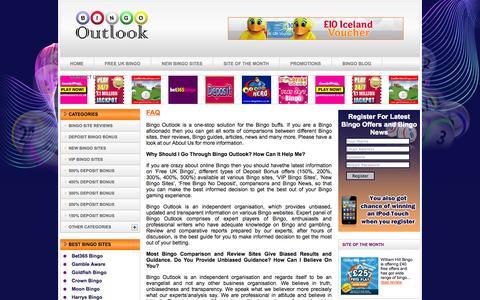 Screenshot of FAQ Page bingooutlook.com - The Best Way to Know Bingo Facts - captured Sept. 30, 2014