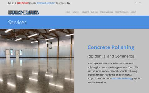 Screenshot of Services Page built-right.com - Services – Built-Right Concrete Polishing and Epoxy Flooring - captured July 1, 2018