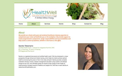 Screenshot of About Page healthwellcs.com - HealthWell Corporate Solutions - captured Nov. 4, 2016