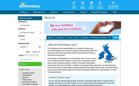 Screenshot of Jobs Page loveholidays.com - Jobs - loveholidays - captured March 5, 2018