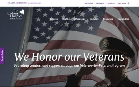 Screenshot of Home Page oldcolonyhospice.org - Massachusetts Hospice | Old Colony Hospice - captured Oct. 18, 2018