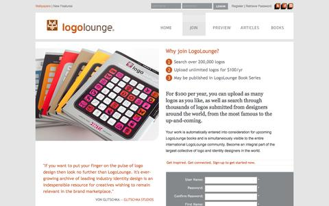 Screenshot of Signup Page logolounge.com - LogoLounge - Join - captured Jan. 31, 2016