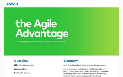 Screenshot of Landing Page slalom.com - The Agile Advantage - captured July 18, 2018