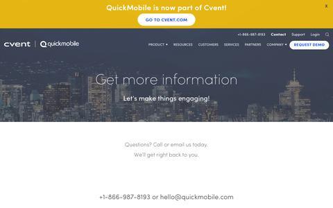 Screenshot of Contact Page quickmobile.com - Request Info About Event Apps | QuickMobile - captured Nov. 30, 2019