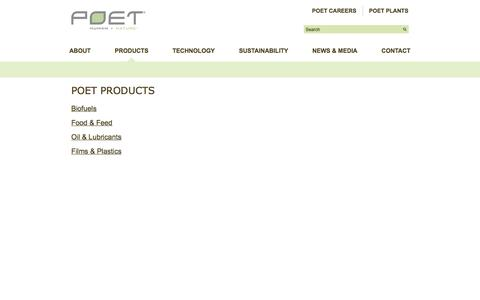 Screenshot of Products Page poet.com - Products - POET - captured Sept. 27, 2014