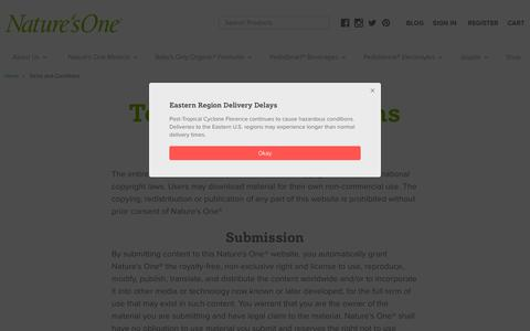 Screenshot of Terms Page naturesone.com - Nature's One® - Terms And Conditions - captured Sept. 23, 2018