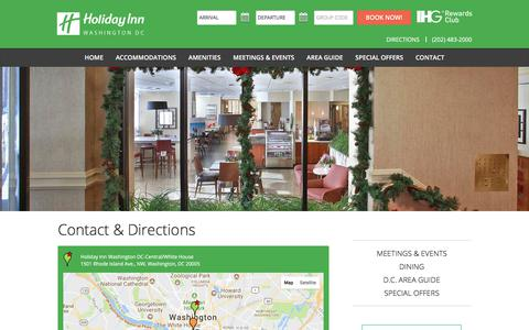 Screenshot of Contact Page Maps & Directions Page inndc.com - Contact & Directions | Holiday Inn Washington DC-Central/White House Hotel: Downtown DC Hotel - captured Aug. 23, 2017