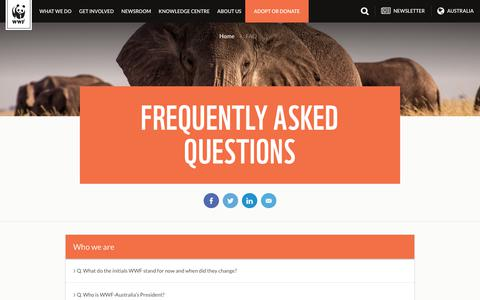Screenshot of FAQ Page wwf.org.au - Frequently Asked Questions - WWF - WWF-Australia - captured June 23, 2017