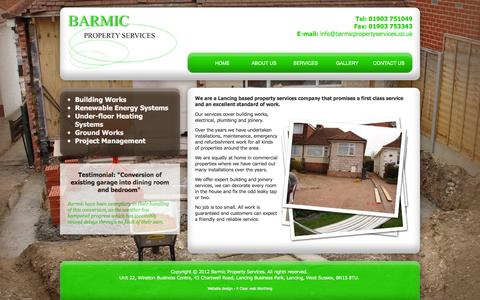 Screenshot of Home Page barmicpropertyservices.co.uk - Lancing based property services company that promises a first class service and an excellent standard of work. Barmic Property Services - captured March 3, 2016