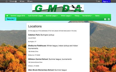 Screenshot of Locations Page usetopscore.com - Locations - Green Mountain Disc Alliance - captured June 13, 2016