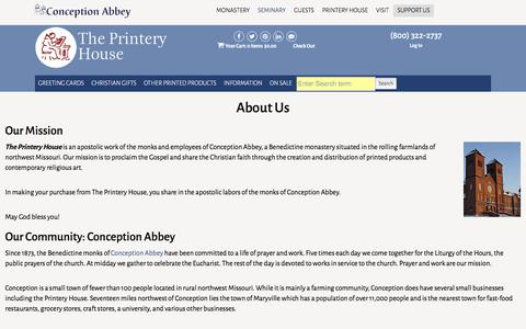 Screenshot of About Page printeryhouse.org - About The Printery House | Buy Christian Greeting Cards & Catholic Gifts Online - captured Nov. 16, 2017