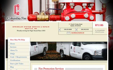 Screenshot of Services Page columbiafire.net - Fire Sprinkler Service, Repair, Confidence Testing in Seattle, WA - captured Nov. 9, 2016