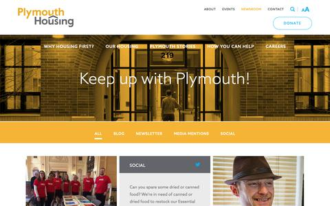 Screenshot of Press Page plymouthhousing.org - Newsroom - Plymouth Housing - captured Sept. 28, 2018