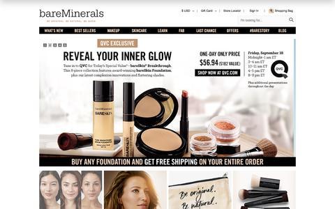 Screenshot of Home Page bareescentuals.com - Mineral Foundation & Makeup   bareMinerals - captured Sept. 19, 2015