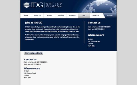 Screenshot of Jobs Page idg.co.uk - Work for one of the most innovative media companies in the UK | IDG - captured Sept. 19, 2014