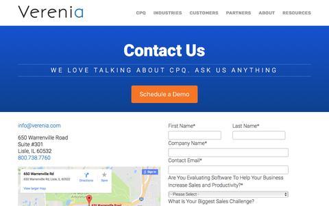Verenia CPQ – Contact Us