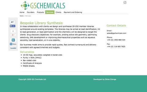 Screenshot of Services Page gschemicals.com - Bespoke Library Synthesis | GS Chemicals - captured Oct. 2, 2014