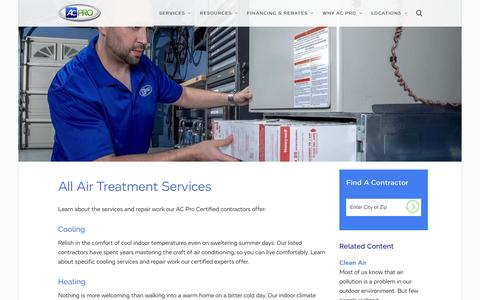 Screenshot of Services Page acpro.com - Air Conditioning, Heating, & Treatment Services   AC Pro - captured Nov. 5, 2015