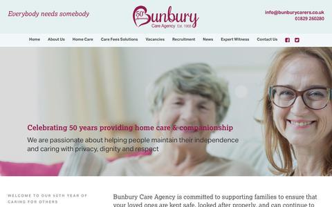 Screenshot of Home Page bunburyagency.com - Bunbury Care Agency - Home Care & Companionship - captured Oct. 7, 2018