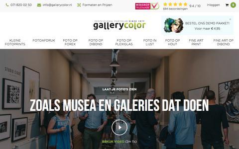 Screenshot of Home Page gallerycolor.nl - Gallery Color: Fotoafdrukken- op Plexiglas, Hout, Dibond, en Forex - captured Nov. 30, 2017