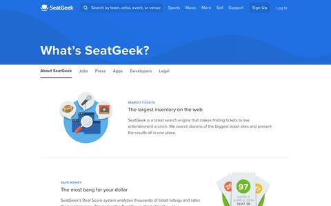Screenshot of About Page seatgeek.com - Learn More About Us   SeatGeek - captured Nov. 19, 2019