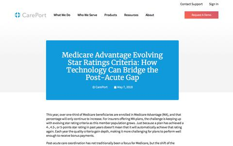 Screenshot of Blog careporthealth.com - Medicare Advantage Evolving Star Ratings Criteria: How Technology Can Bridge the Post-Acute Gap - Careport Health - captured Feb. 20, 2020