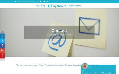 Screenshot of Contact Page ergo-health.co.uk - Contact – Ergohealth - captured Aug. 8, 2017