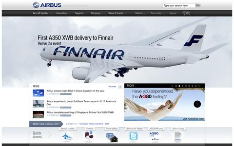 Screenshot of Home Page airbus.com - Airbus.com| Airbus, a leading aircraft manufacturer - captured Oct. 23, 2015
