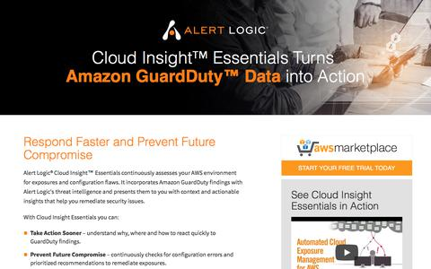 Screenshot of Landing Page alertlogic.com - Alert Logic Cloud Insight Essentials - captured Jan. 12, 2018