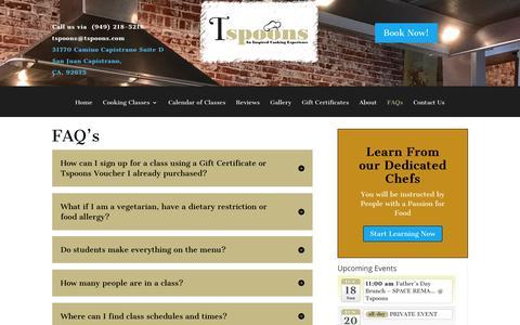 Screenshot of FAQ Page tspoons.com - FAQ's - Tspoons Cooking Classes - captured June 18, 2017