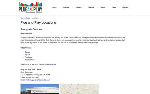 Screenshot of Locations Page plugandplaytechcenter.com - Plug and Play Locations | Plug and Play Tech Center - captured Sept. 23, 2014