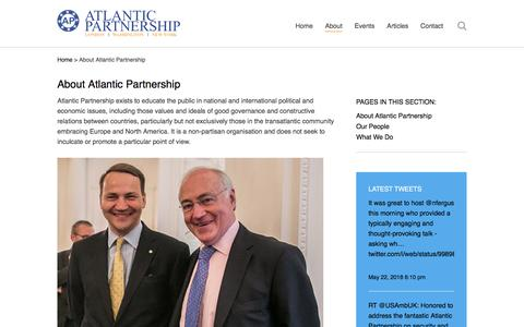 Screenshot of About Page atlanticpartnership.org - About Atlantic Partnership – Atlantic Partnership - captured July 31, 2018