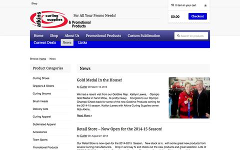 Screenshot of Press Page atkinscurling.com - News | Atkins Curling Supplies & Promotional Products - captured Oct. 4, 2014