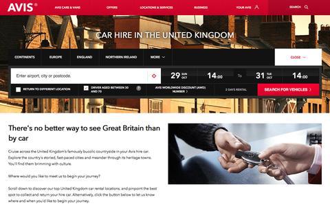 Screenshot of avis.co.uk - Car Hire UK | Avis UK - captured Oct. 28, 2017