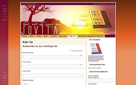 Screenshot of Signup Page jovitajenkins.com - Sign Up  | Jovita Jenkins.com - captured Aug. 8, 2016