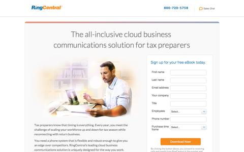 Screenshot of Landing Page ringcentral.com - The all-inclusive cloud business  communications solution for tax preparers - captured Jan. 7, 2017
