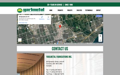 Screenshot of Contact Page yarlmetal.com - CONTACT  ::  Yarlmetal Fabrications Inc. - captured Nov. 12, 2018