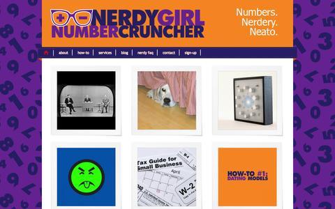Screenshot of Home Page nerdygirlnumbercruncher.com - NerdyGirl Number Cruncher — Business Development Consulting for Chicago Startups and Small Businesses - captured Sept. 30, 2014