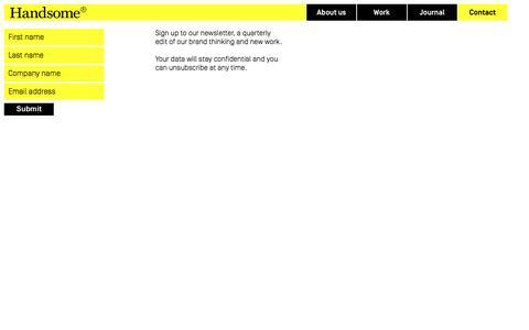 Screenshot of Signup Page handsomebrands.co.uk - Handsome Brands Ltd  - Sign up to newsletter - captured Oct. 28, 2014