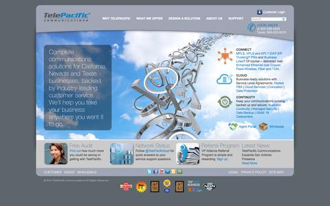 Screenshot of Home Page telepacific.com - TelePacific Communications | Connect, Cloud and Continuity - captured Sept. 17, 2014