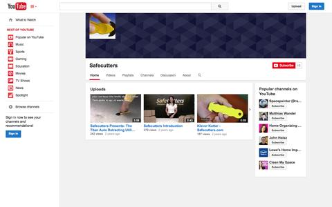 Screenshot of YouTube Page youtube.com - Safecutters  - YouTube - captured Oct. 23, 2014