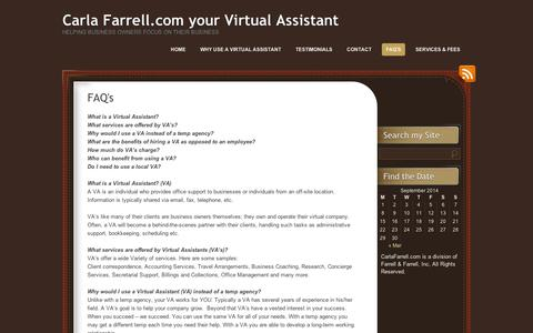 Screenshot of FAQ Page wordpress.com - FAQ's | Carla Farrell.com your Virtual Assistant - captured Sept. 12, 2014