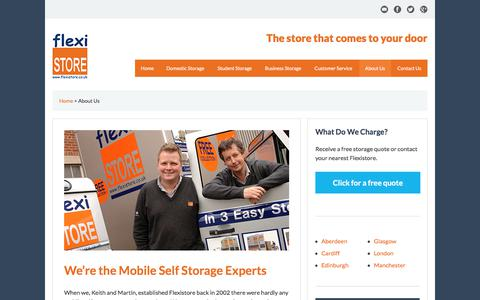 Screenshot of About Page flexistore.co.uk - About Us | Mobile Self Storage UK | Flexistore - captured Oct. 14, 2017
