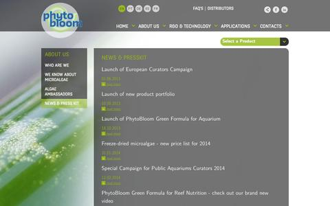 Screenshot of Press Page phytobloom.com - Phytobloom By Necton Ideal Green Water solution Ready-to-use microalgae - captured Oct. 26, 2014