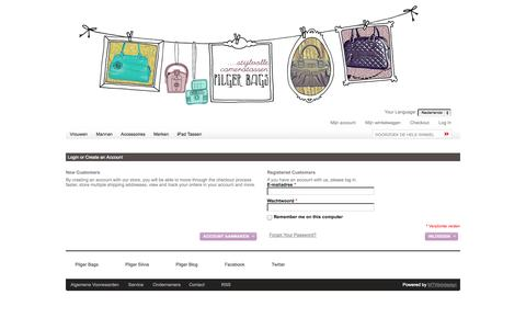 Screenshot of Login Page pilgerbags.nl - Pilger Bags Klant-login - captured Sept. 29, 2014