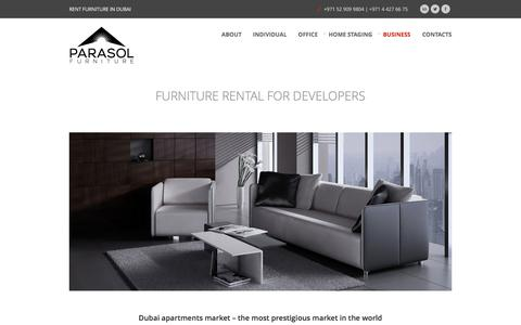 Screenshot of Developers Page parasolfurniture.me - Parasol Furniture Rent for DevelopersParasol Furniture Dubai Rent and Leasing - captured Dec. 7, 2015