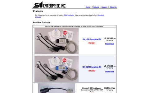 Screenshot of Products Page suenterprise.com - SU Enterprise : Products - captured Oct. 3, 2014